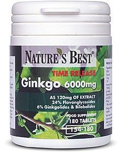 Ginkgo Biloba 6000 mg 180 tabletek NATURE'S BEST