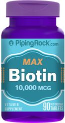 URODA Biotyna max 10,000 mcg (10 mg) 90 tabletek PIPING ROCK