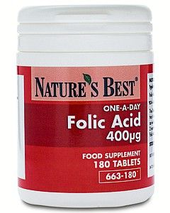 Folic Acid 400µg (Vitamin B9) 180 tabletek NATURE'S BEST