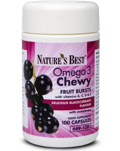 Omega 3 Chewy Fruit Bursts with Vitamin A,C, D, and E 100 tabletek NATURE'S BEST